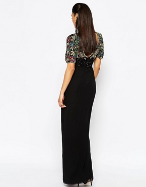 photo Ariann Embellished Maxi Dress with Frill Wrap Skirt by Virgos Lounge, color Black/Gold - Image 2