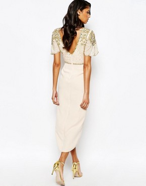 photo Laila Embellished Midi Dress with Thigh Split Detail by Virgos Lounge, color Nude/Gold - Image 2