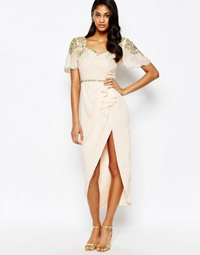 photo Laila Embellished Midi Dress with Thigh Split Detail by Virgos Lounge, color Nude/Gold - Image 1