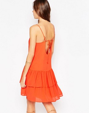 photo Mini Dress with Tiered Ruffles by BCBGeneration, color Hot Coral - Image 2