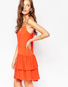 photo Mini Dress with Tiered Ruffles by BCBGeneration, color Hot Coral - Image 1
