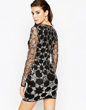 photo Mesh Bodycon Mini Dress with Embellished Stars by ASOS NIGHT, color Black - Image 2