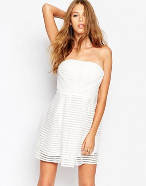 photo Crochet STripe Detail Skater Dress by Missguided, color White - Image 1