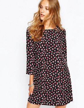 photo Cathy Dress in Cloudy Print by Suncoo, color Rouge - Image 1