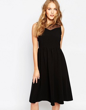 photo Cristal Dress with Sheer Yoke by Suncoo, color Noir - Image 1
