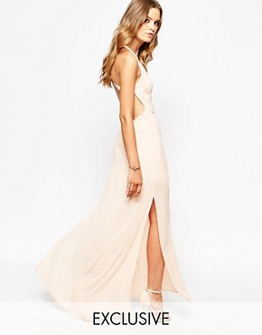 photo Maxi Dress with Open Back by Goldie, color Nude - Image 1