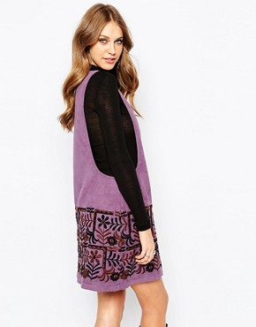 photo Swedish Garden Embroidered Dress in Faux Suede by Anna Sui, color Grape Multi - Image 2