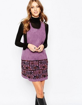 photo Swedish Garden Embroidered Dress in Faux Suede by Anna Sui, color Grape Multi - Image 1