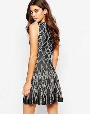 photo Skater Dress in Knitted Jacquard by BCBG Max Azria, color Black Combo - Image 2