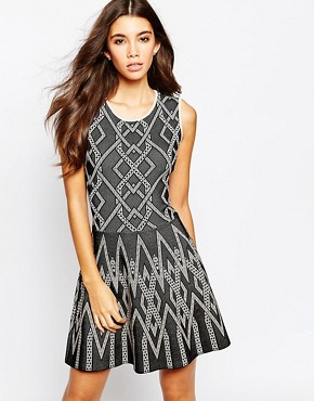 photo Skater Dress in Knitted Jacquard by BCBG Max Azria, color Black Combo - Image 1