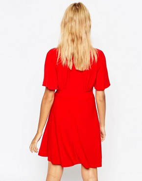 photo Plunge Skater Dress with Kimono Sleeve by Love, color Red - Image 2
