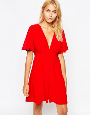 photo Plunge Skater Dress with Kimono Sleeve by Love, color Red - Image 1