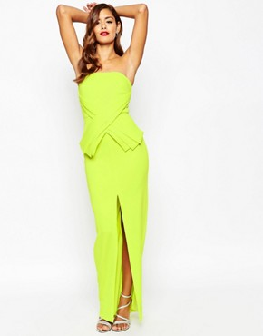photo Cross Front Peplum Maxi Dress by ASOS RED CARPET, color Lime - Image 1