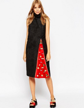 photo Funnel Neck Dress with Embellished Insert by A.V.ROBERTSON (for ASOS BLACK), color Black - Image 1