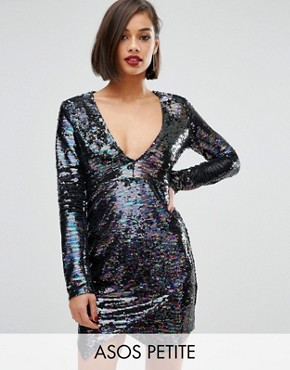 photo All Over Sequin Wrap Mini Dress by ASOS PETITE, color Multi - Image 1