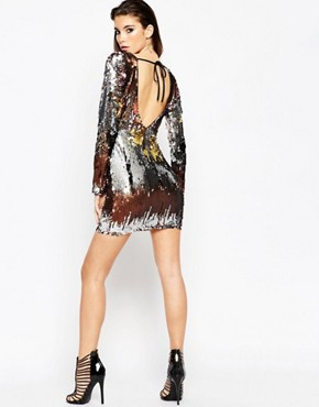 photo Embellished Ombre Mini Dress by ASOS NIGHT, color Multi - Image 2