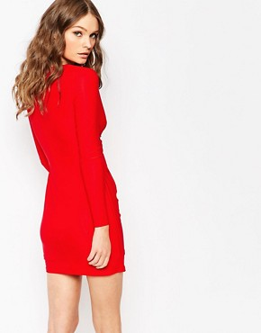 photo Plunge Neck Mini Dress with Gold Keyring Detail by Lipstick Boutique Petite, color Red - Image 2