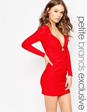 photo Plunge Neck Mini Dress with Gold Keyring Detail by Lipstick Boutique Petite, color Red - Image 1