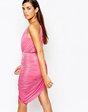 photo Gold Chain Halterneck Bodycon Dress by Lipstick Boutique Petite, color Deep Pink - Image 2