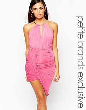photo Gold Chain Halterneck Bodycon Dress by Lipstick Boutique Petite, color Deep Pink - Image 1