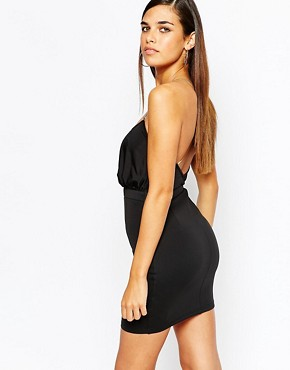 photo Bodycon Dress with Gold Chain Cross Back Detail by Lipstick Boutique Petite, color Black - Image 2