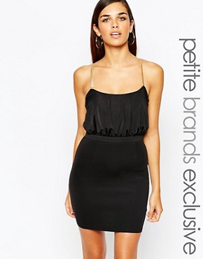 photo Bodycon Dress with Gold Chain Cross Back Detail by Lipstick Boutique Petite, color Black - Image 1