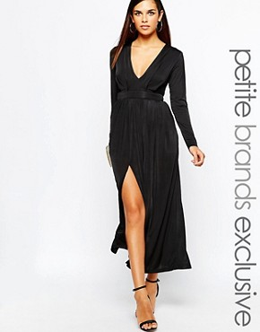 photo 70's Plunge Neck Maxi Dress with Double Splits by Lipstick Boutique Petite, color Black - Image 1