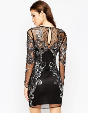photo Placed Embellished Mesh Bodycon Midi Dress by ASOS NIGHT, color Black - Image 2