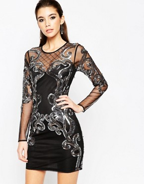 photo Placed Embellished Mesh Bodycon Midi Dress by ASOS NIGHT, color Black - Image 1