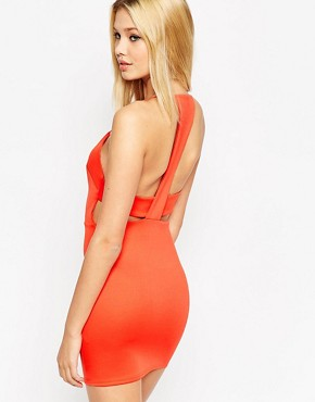 photo Cut Out Back Mini Bodycon Dress by ASOS, color Orange - Image 2