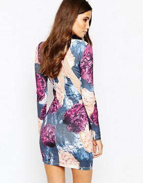 photo Bodycon Dress with Wrap Front and Mesh Detail by Ginger Fizz, color Multi Floral - Image 2