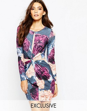 photo Bodycon Dress with Wrap Front and Mesh Detail by Ginger Fizz, color Multi Floral - Image 1