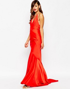 photo Deep Plunge Soft Fishtail Maxi Dress by ASOS RED CARPET, color Red - Image 1