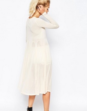 photo Button Down Dress in Ribbed Jersey by Navy London, color Cream - Image 2