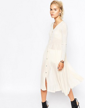 photo Button Down Dress in Ribbed Jersey by Navy London, color Cream - Image 1