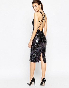 photo Deep Plunge Sequin Midi Dress by ASOS NIGHT, color Multi - Image 2