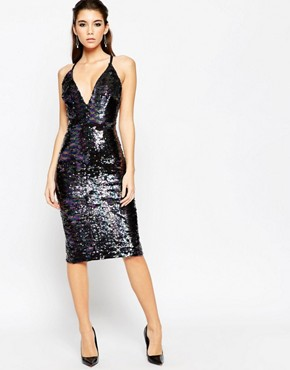 photo Deep Plunge Sequin Midi Dress by ASOS NIGHT, color Multi - Image 1