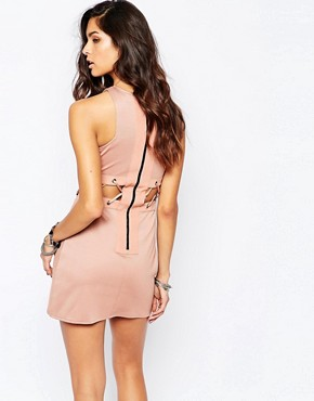 photo Mini Dress with Lace Up Detail by The Laden Showroom x Rok & Rebelle, color Nude - Image 2