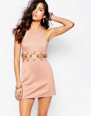 photo Mini Dress with Lace Up Detail by The Laden Showroom x Rok & Rebelle, color Nude - Image 1