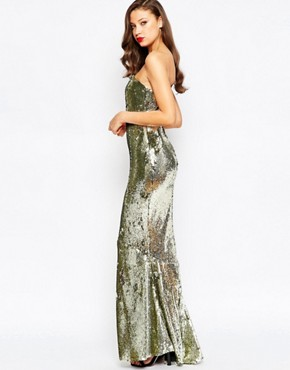 photo Sequin Fishtail Maxi Dress by ASOS TALL RED CARPET, color Gold - Image 2