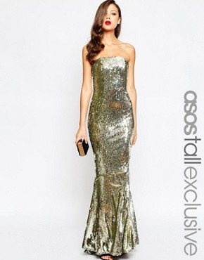 photo Sequin Fishtail Maxi Dress by ASOS TALL RED CARPET, color Gold - Image 1