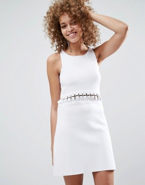 photo Dress in Structured Knit with Lace Up Detail by ASOS PREMIUM, color White - Image 1