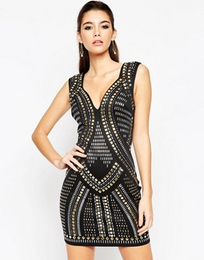 photo Armour Sweetheart Mini Bodycon Dress by ASOS NIGHT, color Black - Image 1
