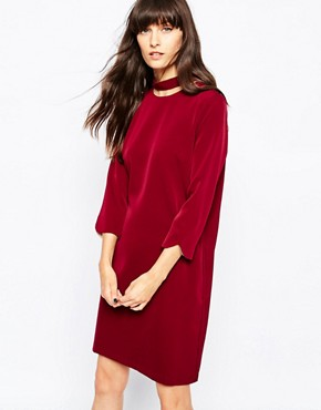photo Cut Out Collar Dress by Paisie, color Berry - Image 1