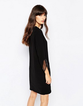 photo Shift Dress with Organza Cuffs by Paisie, color Black - Image 2