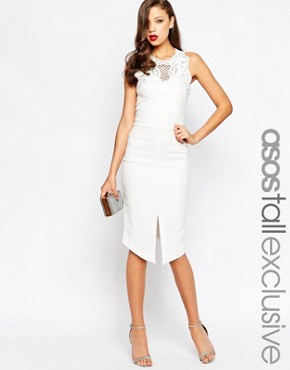 photo Lace Trim Midi Dress by ASOS TALL RED CARPET, color Ivory - Image 1