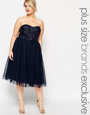 photo Embellished Bodice Tulle Midi Prom Dress by Lovedrobe Luxe, color Navy - Image 1