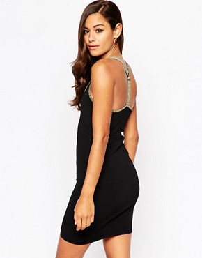 photo Bodycon Dress with Ring Detail and Metallic Trims by ASOS NIGHT, color Black - Image 2