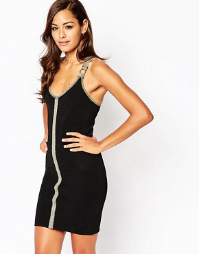 photo Bodycon Dress with Ring Detail and Metallic Trims by ASOS NIGHT, color Black - Image 1