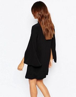 photo Embellished Cape Sleeve Dress by Warehouse Premium, color Black - Image 2